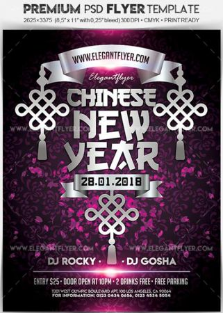 Chinese New Year V05 Flyer PSD Template + Facebook Cover