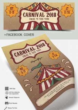 Carnival V4 2018 Flyer PSD Template + Facebook Cover