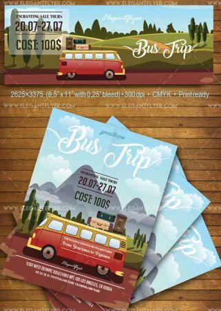 Bus Trip V1 2018 Flyer PSD Template + Facebook Cover