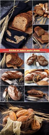 Kitchen or bakery poster design, different kinds of bread