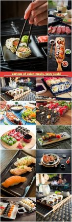 Various of asian meals, tasty sushi
