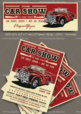 Car Show V1 2018 Flyer PSD Template + Facebook Cover