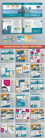 Business brochure template vector design, cover layout and infographics