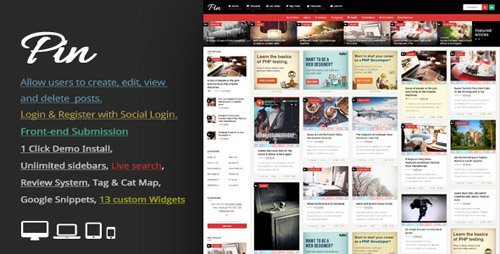 ThemeForest - Pin v3.7 - Pinterest Style  Personal Masonry Blog  Front-end Submission - 10272975