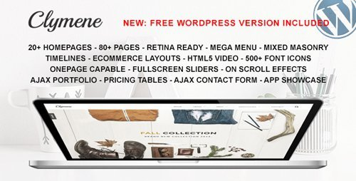 ThemeForest - Clymene v1.3 - Multipurpose HTML5 Template + Clymene WP v1.0 - 9670493