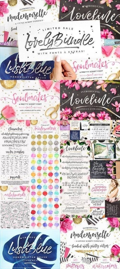 Download The Lovely Bundle I Fonts + EXTRAS! 2093009 (Full