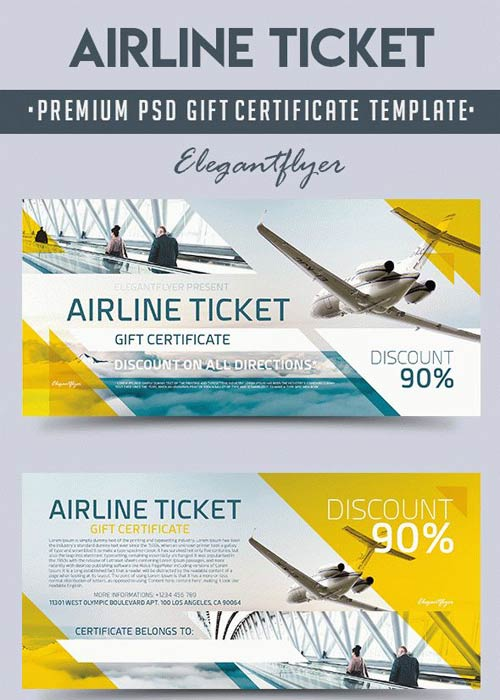 download airline ticket v1 2018 premium gift certificate psd