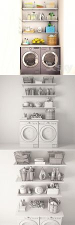 Laundry set 3d Models