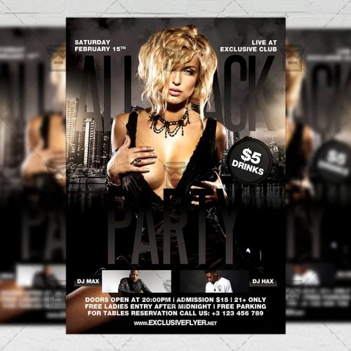 download club a5 flyer template all black party softarchive