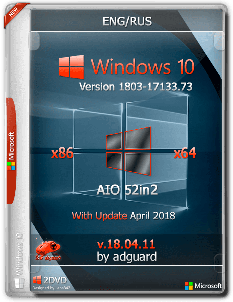 Download Windows 10 RS4 1803-17133 73 x64 AIO Eng/Rus April 2018