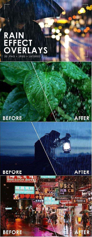 تأثير المطر الواقعي Realistic Rain Overlays