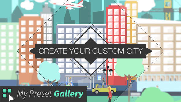 Videohive Flat City Vector - City with Buildings, Pedestrians, Cars, Planes... in Flat Design 16075205