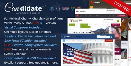 ThemeForest - Candidate v4.9 - Political/Nonprofit/Church WordPress Theme - 10051778 - NULLED