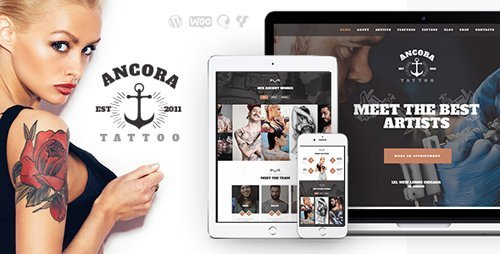 ThemeForest – Ancora v1.1 – Tattoo Salon and Ink Shop WordPress Theme