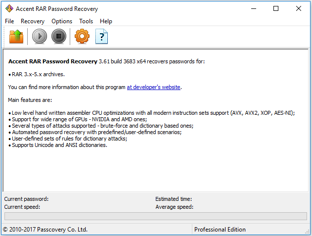 Accent RAR Password Recovery 3.61 build 3683 Professional Edition