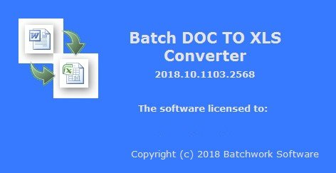 Batch DOC to XLS Converter 2019.11.215.2612
