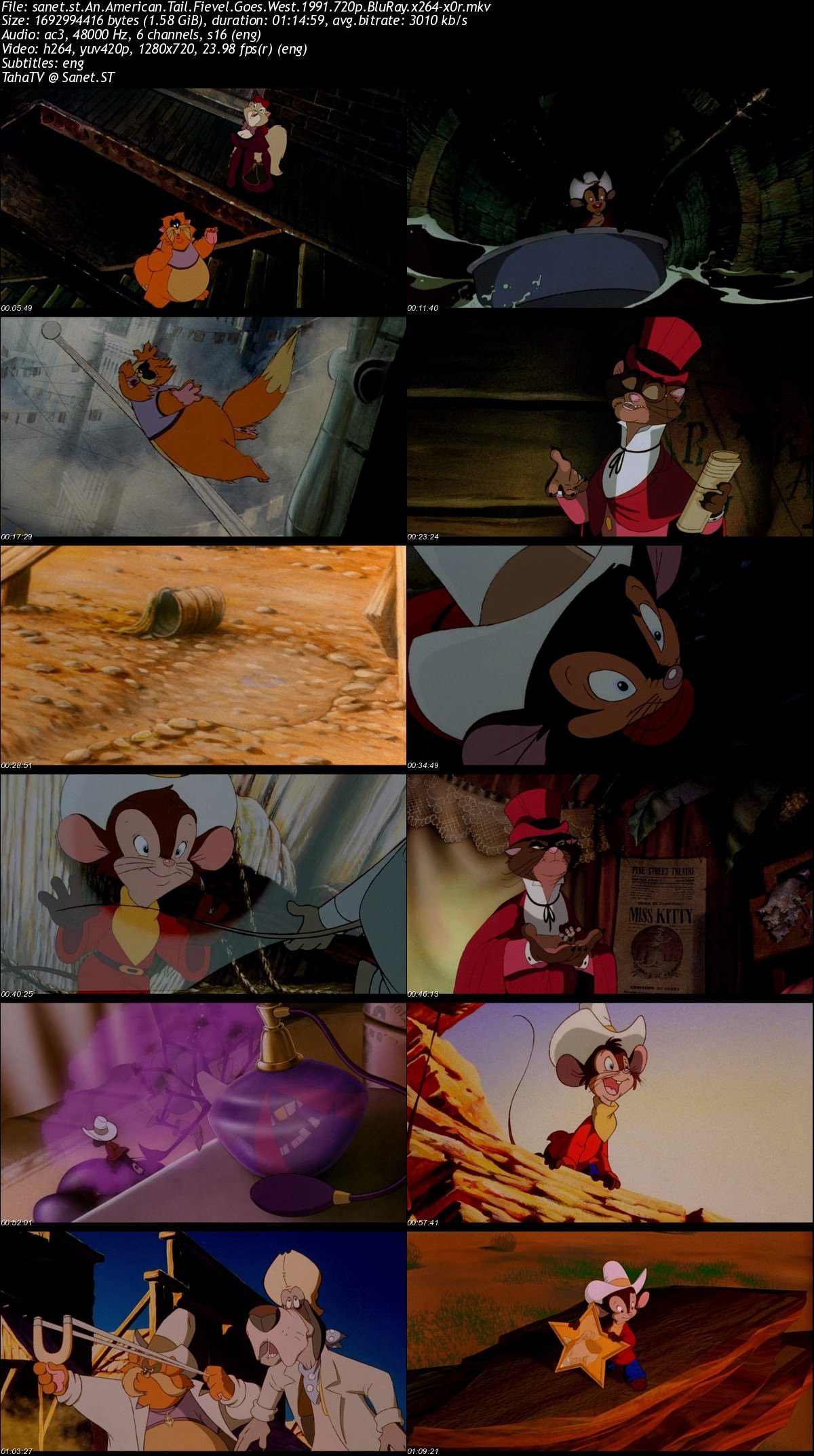 Download An American Tail Fievel Goes West 1991 720p Bluray X264 X0r