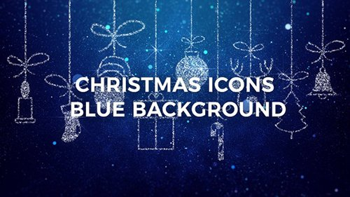 Merry Christmas Icons Blue Background - 22997374