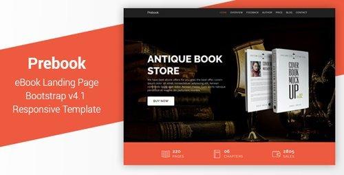 ThemeForest - Prebook v1.0 - eBook Landing Page Responsive Bootstrap 4 Temp ...