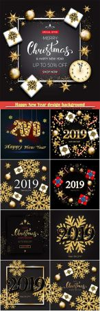 Happy new year design background with (2019) vector shining gold snowflakes