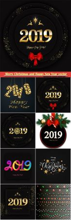 (2019) Merry Christmas and Happy New Year vector design