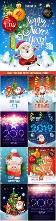 2019 New year and Merry Christmas poster card, Santa Claus, pig decorate the Christmas tree
