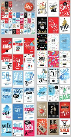Set of Winter Mobile Sale Banners 18932239.
