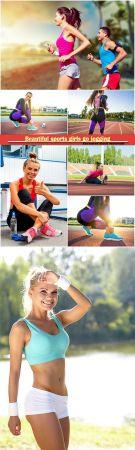 Beautiful sports girls go jogging