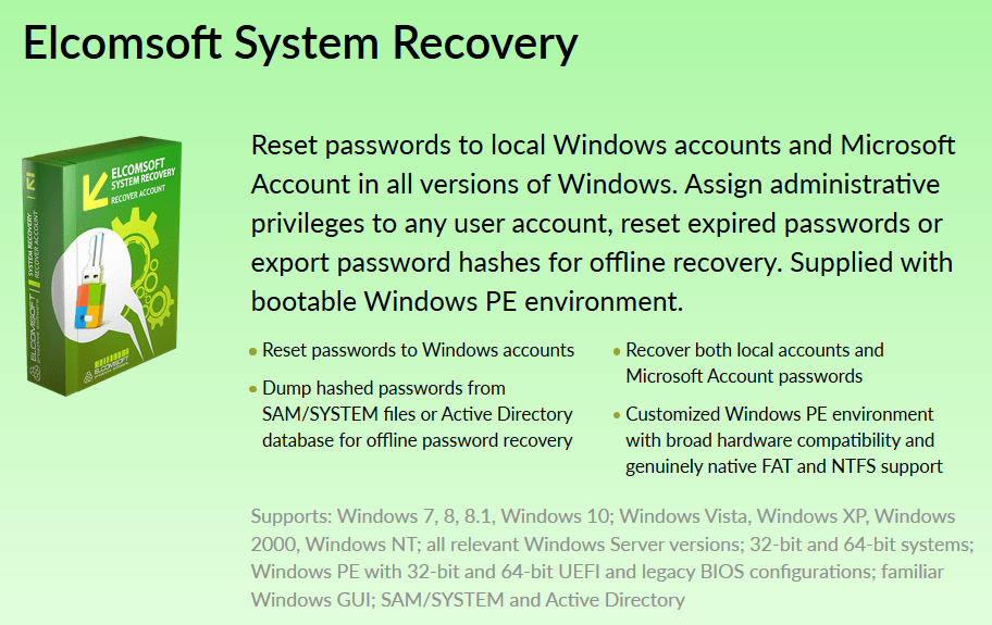 Download Elcomsoft System Recovery Professional Edition 5 60