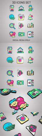 3D Social Media Web Icons 3D model
