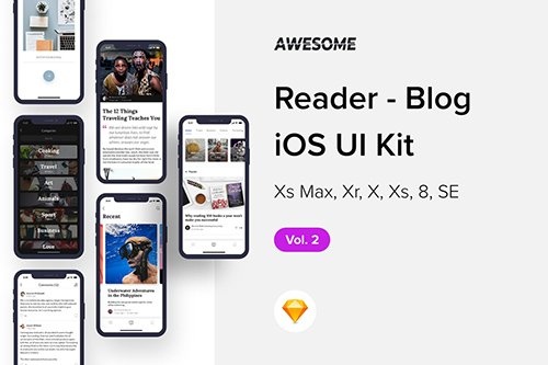 Download Awesome iOS UI Kit - Reader Blog Vol  2 (Sketch