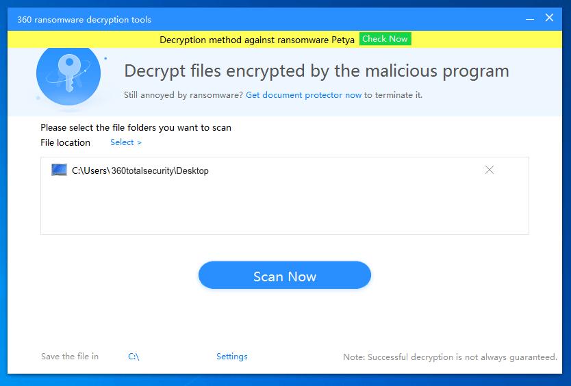 360 Ransomware Decryption Tool 1.0.0.1250