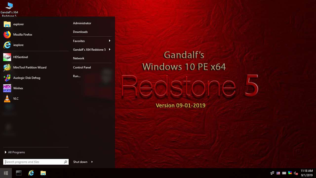 Download Gandalf's Windows 10 PE x64 - Version 1809 - Build