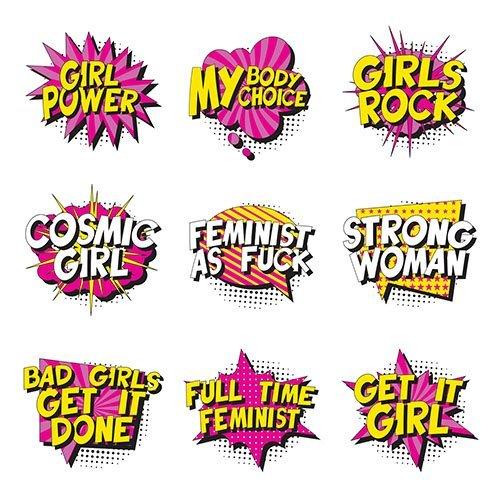 Feminist Slogans Retro Pop Art Style