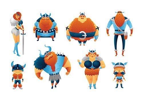 Vikings Cartoon Characters Scandinavian People