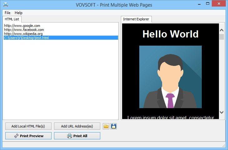 VovSoft Print Multiple Web Pages 2.1