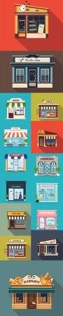 Restaurants and Shops Facade Flat Illustration
