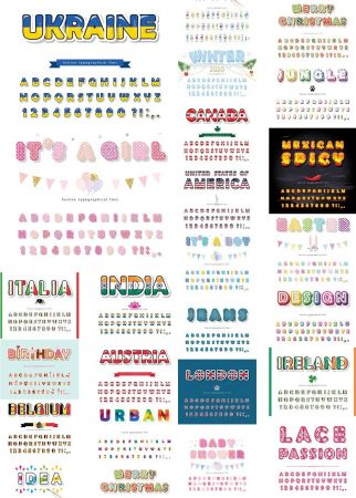 Various Countries and Holidays Vector Fonts
