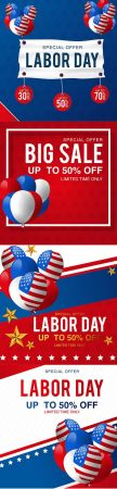 Labor Day Sale Promotion Advertising Template Set
