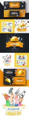 Happy Labor Day design banter realistic illustrations 3