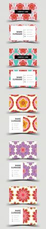 Business Card Design with Flower Background Set