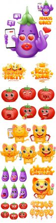 Smiley, tomato and eggplant emoji cartoon character
