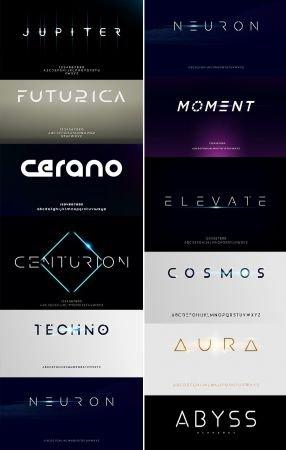 Futuristic Alphabet Font Minimalist Typography Design