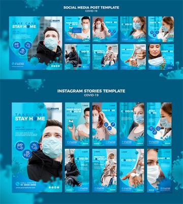 Coronavirus Social Media Post & Instagram Stories PSD Templates