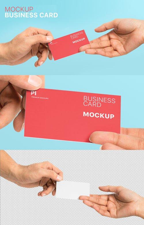 Holding Business Card PSD Mockup