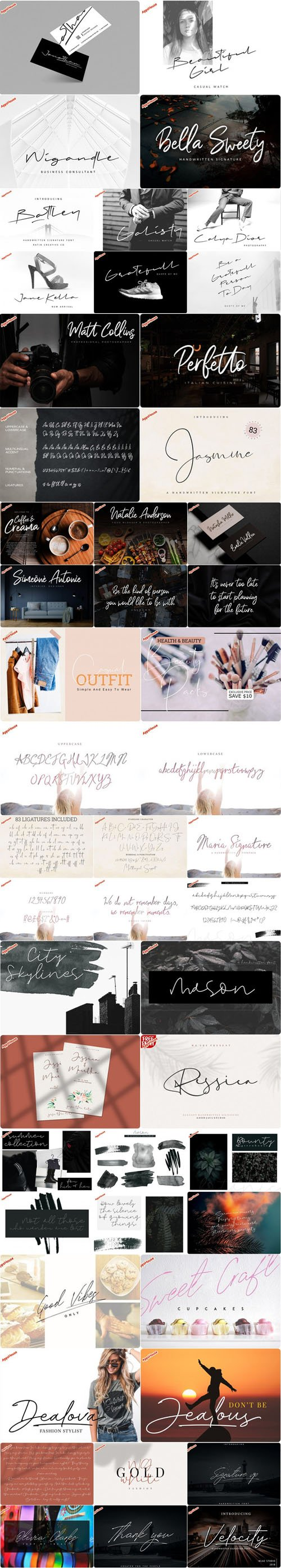 Handwritten Signature Font Collection [8 Fonts]