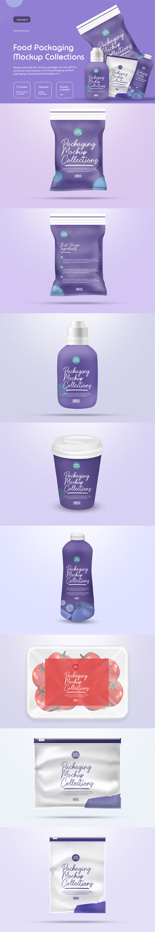 Food Packaging PSD Mockup Collection Vol.2