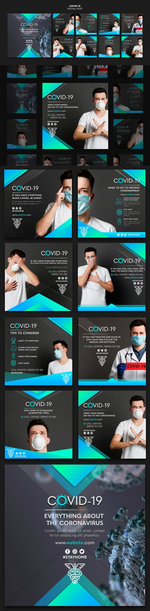 Wearing Masks Fight COVID-19 PSD Templates