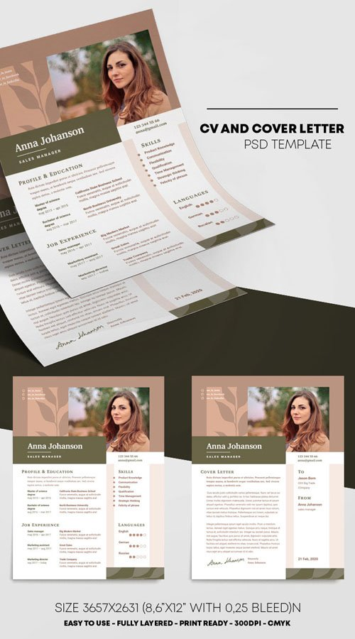CV and Cover Letter PSD Template