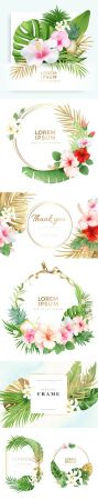Tropical Floral Wreath Frame with Exotic Nature Set